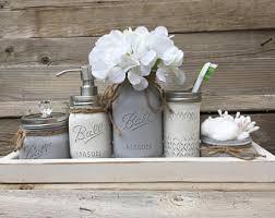 bathroom decor accessories. Unique Bathroom Gray Bathroom Decor Set Mason Jar  Rustic Farmhouse Inside Decor Accessories R