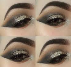 black and gold glitter eye makeup to make your hazel eyes pop