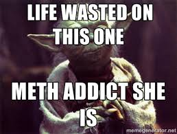 LIFE WASTED ON THIS ONE METH ADDICT SHE IS - Yoda | Meme Generator via Relatably.com