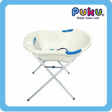 puku baby bath tub stand with bath tub blue