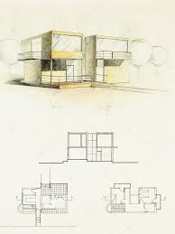 modern architecture sketch. Colored Architectural Blueprint Of Modern House, Drawn By Hand \u2014 Photo Shotsstudio Architecture Sketch R