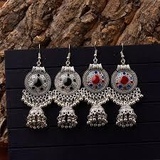 <b>TopHanqi</b> Gypsy <b>Jewelry</b> Retro Ethnic Silver <b>Indian Jhumka</b> Small ...