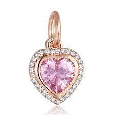 2019 heart stone necklace pendant rose golden charms for jewelry making silver 925 jewelry pink cz crystal charms for women bracelets from guichennecklace