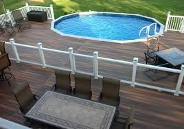 oval above ground pool with deck lounge
