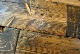 Diy tutorial antiquing wood Glaze Hammer Marks On Distressed Wood Diy Project After Applying Dark Stain Finish Young House Love How To Distress Wood video Photos Young House Love