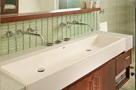double trough sink bathroom modern with aqua atlanta backsplash bathroom