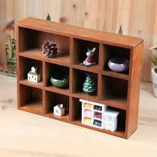 10 grid wooden wall shelf shadow box