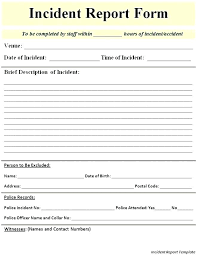 Injury Incident Report Form Template Ireland Hospital Hotel Forms