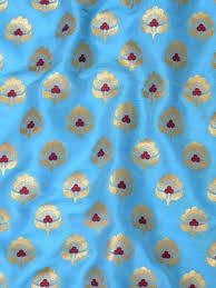 Small Buti Design Soft Semi Katan Small Meena Buti Design Fabric Aqua Blue