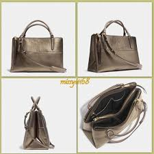 598 NWT Coach Borough Medium Satchel Bag in Metallic Gold Leather 32323
