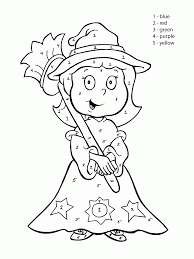 Small Picture Color by Number Cute Witch coloring page for kids education