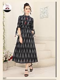 Designer Kurtis Collection Mrigya Ikkat Cotton Print Designer Kurtis Collection