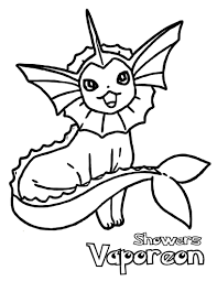 Pokemon Vaporeon Coloring Pages Sketch Coloring
