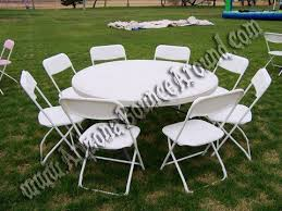 60 round table with 8 white extra wide plastic chairs