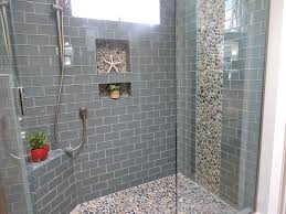 bathroom calm shower tiles ideas inspiration with blue tiles wall shower and gravel laminated floor