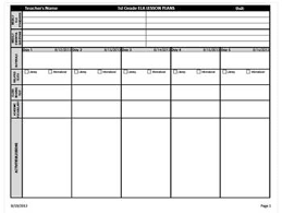 Weekly Lesson Plan Templates 1st Grade Common Core Weekly Lesson Plan Template Ela Math