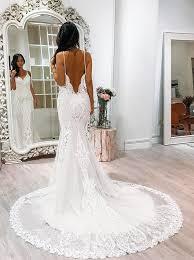 buy mermaid wedding dress spaghetti straps court train backless