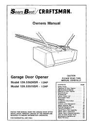 craftsman garage door opener 139 sr i 2hp user guide