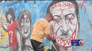 George Floyd mural defaced in Miami ...