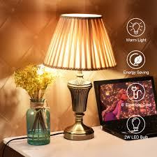 13 Antique Brass Bedside Table Lamp W Led Bulb Champagne Night Light