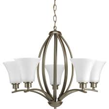 progress lighting joy collection 5 light antique bronze chandelier with etched white glass