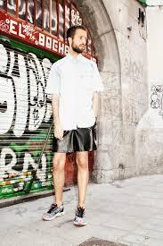 how to wear light blue denim short sleeve shirt black leather shorts multi