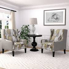 Accent Wingback Chairs Rosario 2 Pack Wingback Fabric Accent Chairs Yellow And Gray