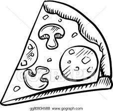 pizza clipart black and white. Black And White Slice Of Pepperoni Pizza For Clipart