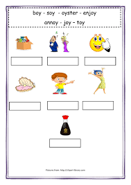 Sounds and phonics worksheets for preschool and kindergarten, including beginning sounds, consonants, vowels and rhyming. Oy Sound Worksheet