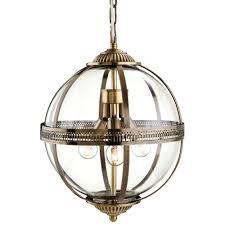 traditional bronze clear glass globe pendant light
