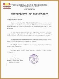 Example Of A Certificate Of Employment Sample Certificate Employment Kfc And Job Application Of For Nurses