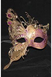 Decorative Masquerade Masks Purple Venetian Masquerade Mask w Gold Metal Laser Cut and Crystals 5