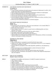 Technician Electronic Resume Samples Velvet Jobs