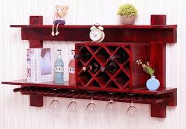 wall mounted wooden wine rack and glass holder cabinet floating in shelf ideas 18