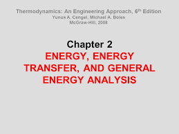 Chapter 2 ENERGY, ENERGY TRANSFER, AND GENERAL ENERGY ANALYSIS ...