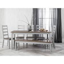canterbury dining table with 5 chairs bench in silk grey and dark pine