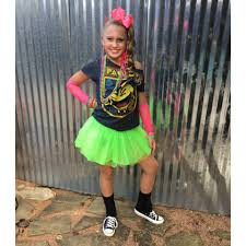her tutu skirt is from party city the shirt i found in the men s department at and cut it the jewelry and gloves are from too