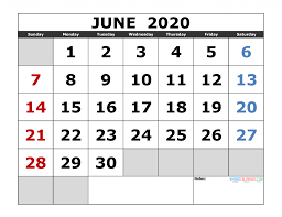 June 2020 Printable Calendar Template Excel Pdf Image Us