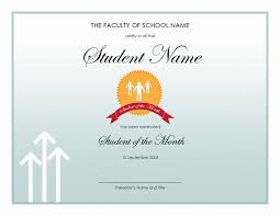 Star Student Certificates Editable Star Student Of The Month Award Certificate