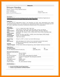 1 Year Experience Resume Format For Java Developer Resume Template