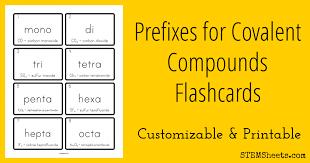Covalent Compound Prefixes Flashcards | STEM Sheets