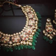 a2 ethnic kundan meenakari white green gold plated indian bridal necklace earrings jewellery set