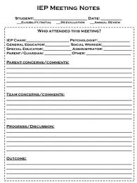 notes form iep meeting note form by chelsea smith teachers pay teachers