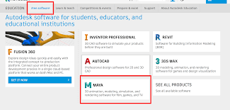 on the main education community page select free then select maya