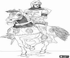 Kleurplaat Ridder In Harnas En Helm Op Een Paard Kleurplaten