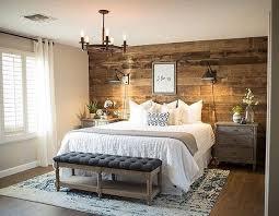 barnwood accent wall master bedroom