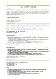 Editor Resumes Sample Film Editor Resume