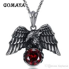 gomaya men necklaces antique silver plated animal eagle pendant necklace biker jewellery mens fashion party animal jewelry gmyn080