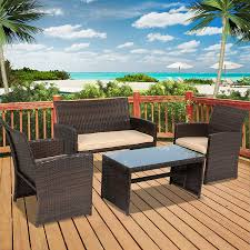 outdoor patio wicker chairs. amazon.com : best choice products 4pc wicker outdoor patio furniture set custioned seats garden \u0026 chairs i