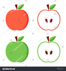 green and red apples clipart. flat design vector green and red apples, whole cut in half isolated on white apples clipart